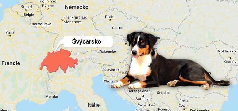 Mapa Švýcarska - Appenzellský salašnický pes