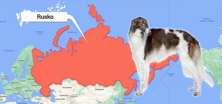 Barzoj - Ruský chrt - mapa Ruska