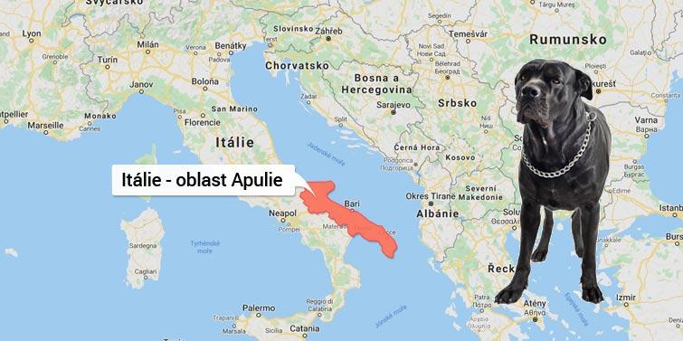 Mapa Itálie - oblast Apulie