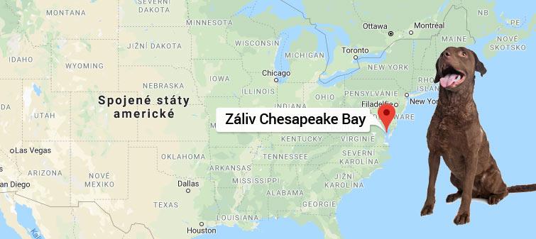 Mapa záliv Chesapeake Bay