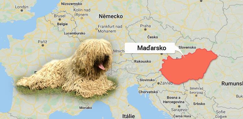 Komondor - mapa Maďarsko