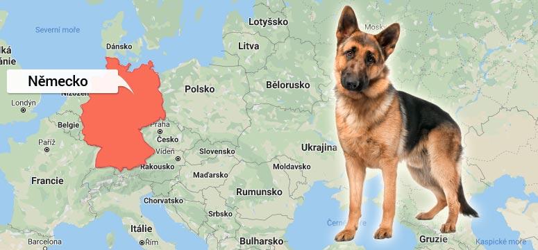 Mapa Německa - Německý ovčák