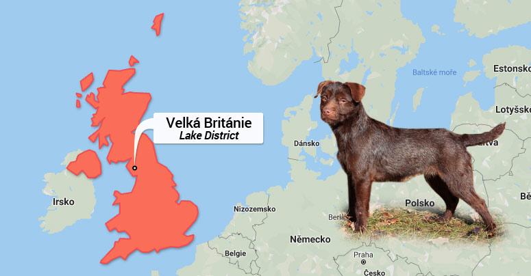 Patterdale teriér - mapa Velké Británie