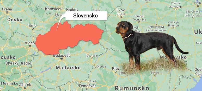 Mapa Slovenska - Slovenský kopov